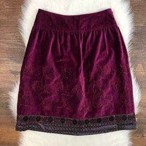 Cynthia Steffe Embroidered Velvet A-Line Skirt 2